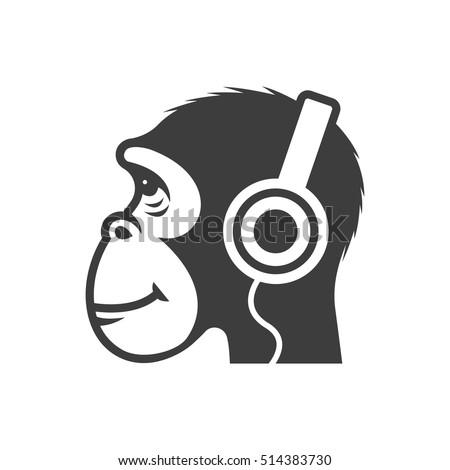 monkey in headphones