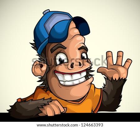 Monkey in the cap of welcomes - stock vector