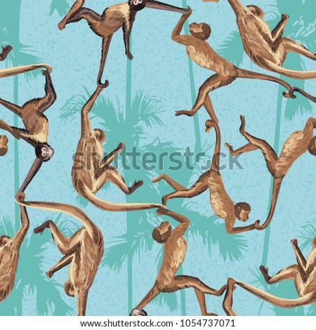 Monkey in the jungle realistic seamless vector pattern. Palm trees background
