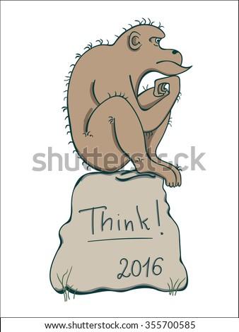 monkey in thinker pose monkey