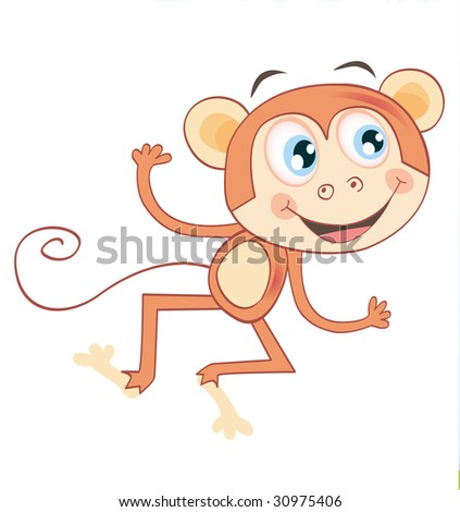 vector-monkey-isolated-on-white-background-funny-jumping-animal-vector ...