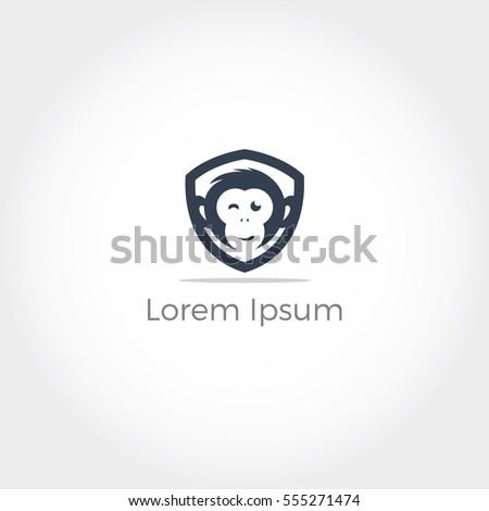 Monkey logo, Monkey face in shield vector, cute chimpanzee face