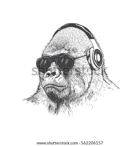 monkey music fan hand drawn