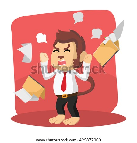monkey office angry with folder
