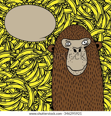 monkey on banana background
