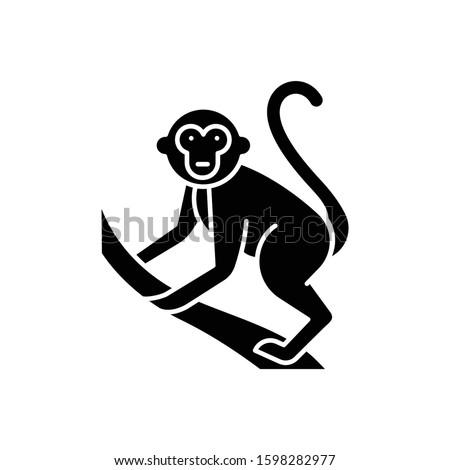 monkey on liana glyph icon