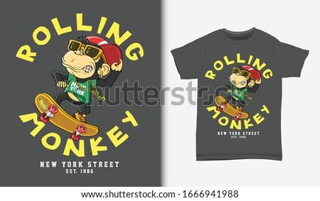 Monkey skater cartoon, with t-shirt design, Hand drawn Сток-фото ©