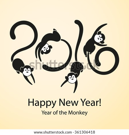 Monkey - symbol of Chinese New Year 2016. Four cheerful jumping marmosets.