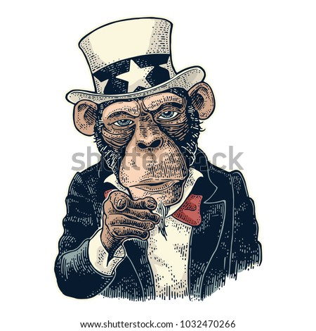 monkey uncle sam with pointing