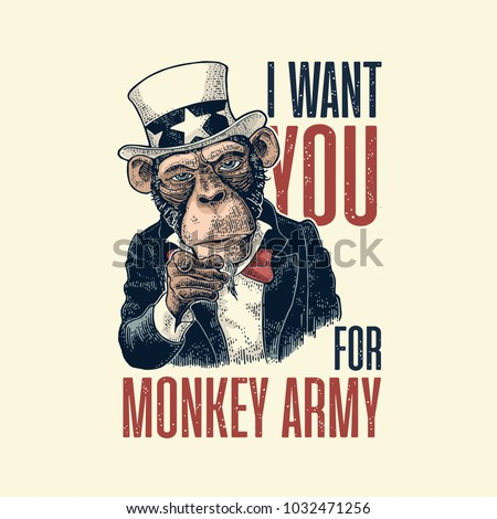 Monkey Uncle Sam with pointing finger at viewer. I Want You for army lettering. Vintage color engraving illustration for recruiting poster. Isolated on white background. Hand drawn design element