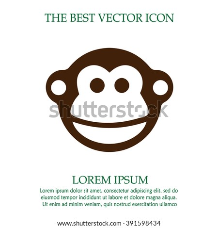Monkey vector icon. Chinese year zodiac symbol 2016. Simple isolated sign.