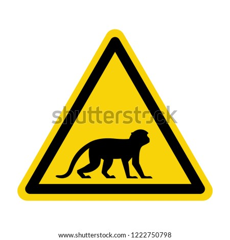 Monkey warning sign. Sign, symbol, illustration