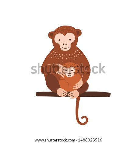 Monkey with baby sitting on tree branch isolated on white background. Family of wild exotic jungle animals. Parent with youngling, mother and child. Flat cartoon colorful vector illustration. Stockfoto ©