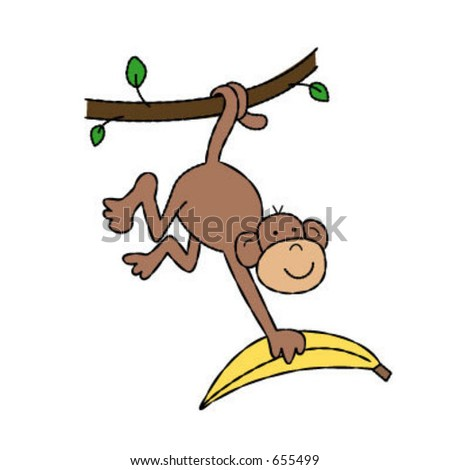 monkey with banana - stock vector