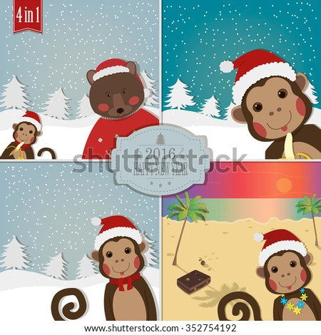 Monkey with friends bear and santa greeting for new year and monkey with friends bear and santa greeting for new year and christmas 4 greeting m4hsunfo