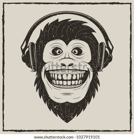 Monkey with headphones t-shirt vector grunge illustration. Chimpanzee having fun while listening to music.