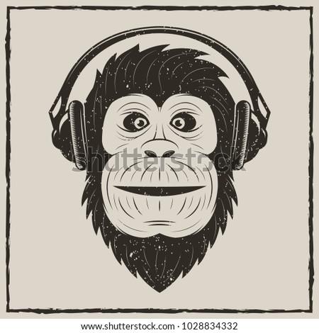 Monkey with headphones t-shirt vector grunge illustration. Chimpanzee listening to music.