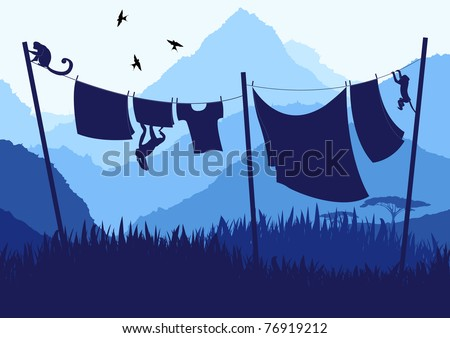 Monkeys and drying clothing line in wild nature landscape