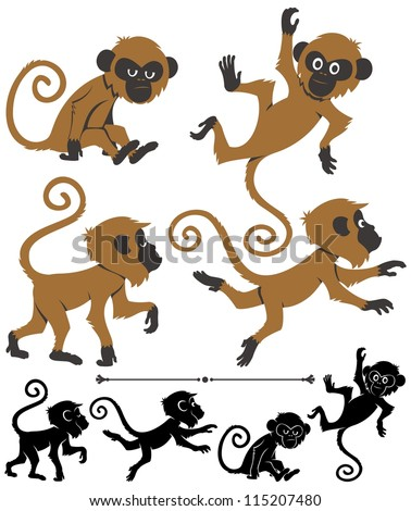 Monkeys: Cartoon monkey in 4 different poses. Below are silhouette versions of the same poses. No transparency and gradients used.