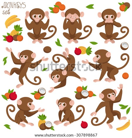 monkeys set vector art