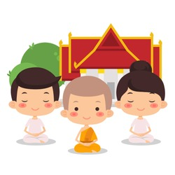 Monks and People Meditating At Temple, Vector Illustration