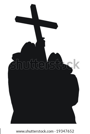 Monks silhouettes in vector as a concept of religion