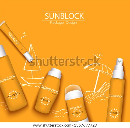 mono-color orange trendy illustration, sun-protection cosmetics packaging design template. Sunscreen and sunblock cream, spray, milk, antiperspirant