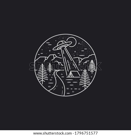 mono line art vector of flying ufo over the forest in. flying ufo over forest camp illustration.