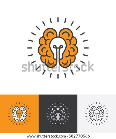 mono line icon with brain and