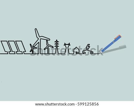 mono line illustration vector of renewable energy power system, renewable energy design concept