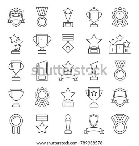 Mono line pictures set of cups and trophies. Vector cup prize and award competition illustration