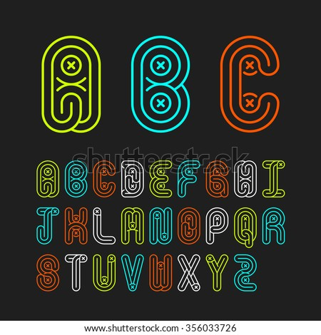 Mono lines style alphabetic fonts capital letter A,B,C,D,E,F,G,H,I,J,K,L,M,N,O,P,Q,R,S,T,U,V,W,X,Y,Z.Vector illustration. Stock fotó ©