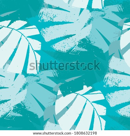 Mono print style aqua blue tropical leaves seamless vector pattern background. Textural backdrop with overlapping layered cut out foliage. Painterly botanical design. Monochrome all over print Stock photo ©