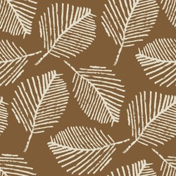 Mono print style scattered leaves seamless vector pattern background. Simple lino cut effect skeleton leaf foliage on caramel brown backdrop. At home hand crafted design concept. Repeat for packaging