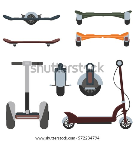 Mono wheel isolated roller scooter. Balance bikes. Different scooters eco alternative city transport. Flat design biking and rolling wheels. Push cycle gyroscooter. Kick scooter and monowheel segway.