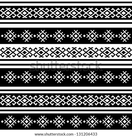 monochromatic ethnic seamless background. horizontal textures in black and white colors