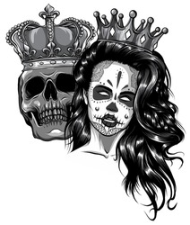 monochromatic King and queen of death. Portrait of a skull with a crown.