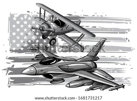 monochromatic military plane