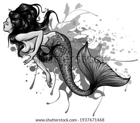 monochromatic Siren. Sea theme. vector illustration on a white background. Сток-фото ©