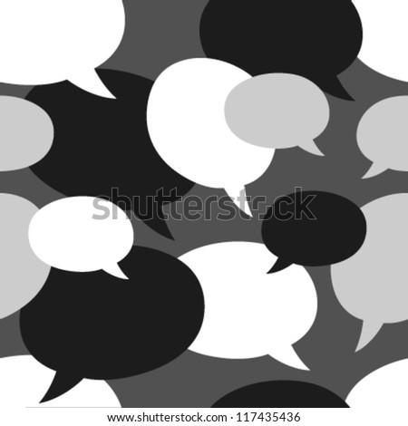 monochromatic speech bubbles seamless pattern