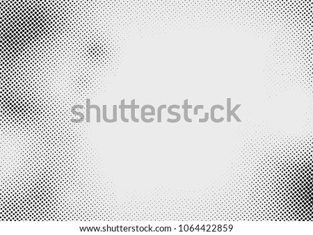 Monochrome abstract halftone pop art style dots over grey layout. Vector illustration