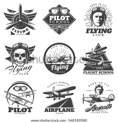 monochrome aircraft logos set