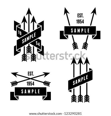 monochrome antique label with arrows