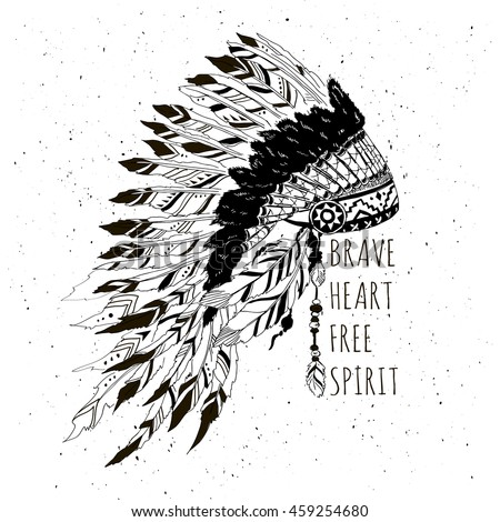 monochrome artwork with war bonnet and motivation quote, t-shirt design, native american silkscreen poster