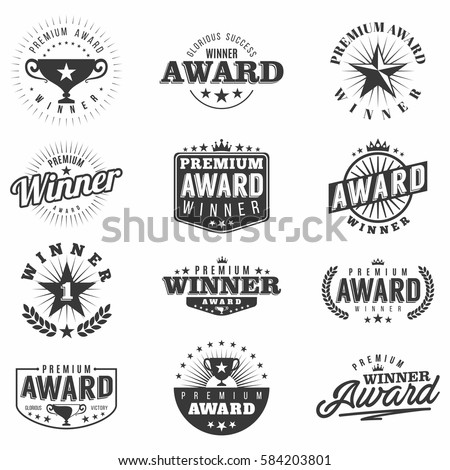 Monochrome award labels, logos and badges collection with vintage design elements. Isolated  on white background. Vector.
