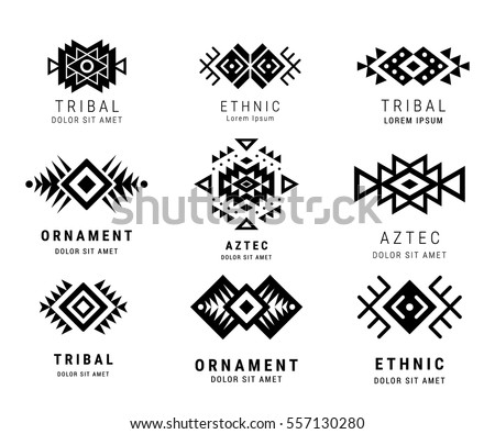 Monochrome Aztec style ornamental simple geometric logo set. American indian ornate pattern design collection. Tribal decorative templates. Ethnic ornamentation. EPS 10 vector illustration isolated.