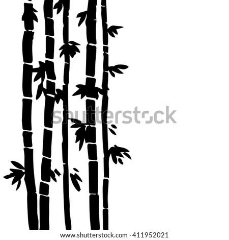 monochrome  bamboo grove, fresh  stalks, black forest, hand drawn vector illustration