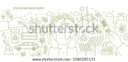 Monochrome banner with hands holding Earth and light bulb surrounded by wind and solar power stations, electric car, plants. Ecology and renewable energy. Vector illustration in line art style