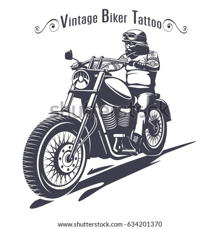 monochrome biker tattoo