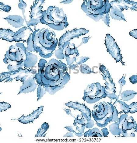 monochrome blue seamless